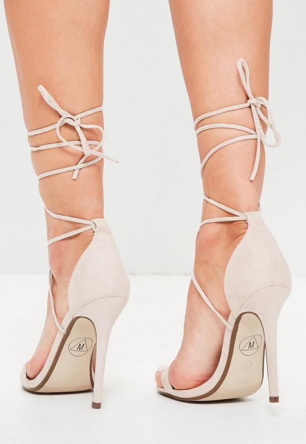 Lace Up Barely There Heeled Sandals Nude | Missguided