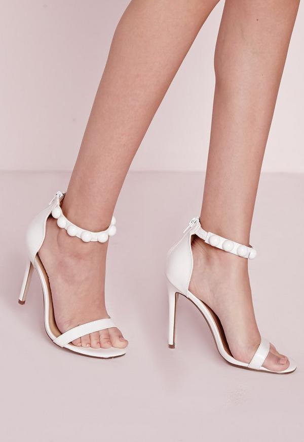 Button Detail Barely There Heeled Sandals White