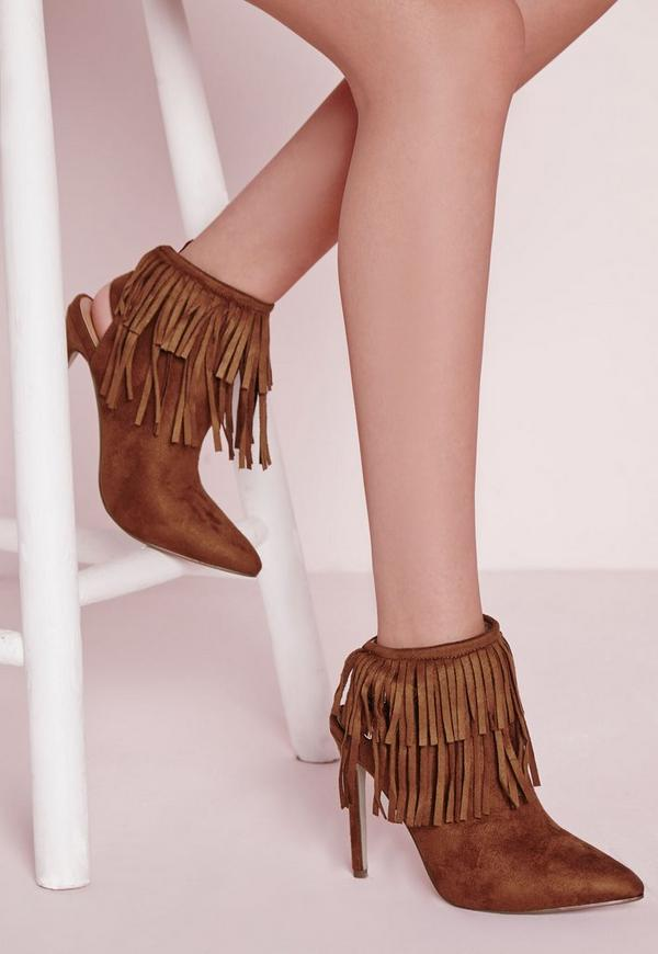 Fringe Detail Heeled Ankle Boots Tan