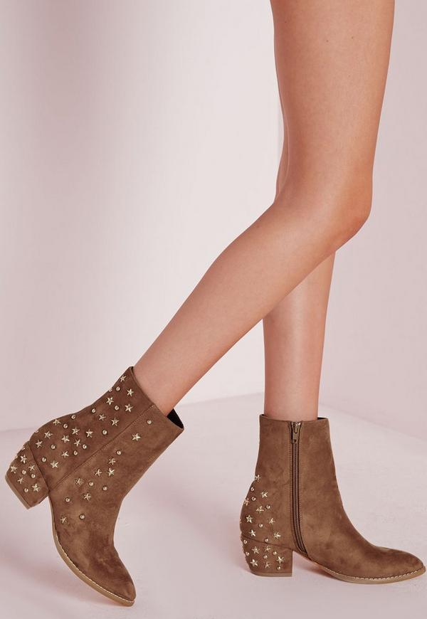 Pointed Toe Star Detail Ankle Boots Tan