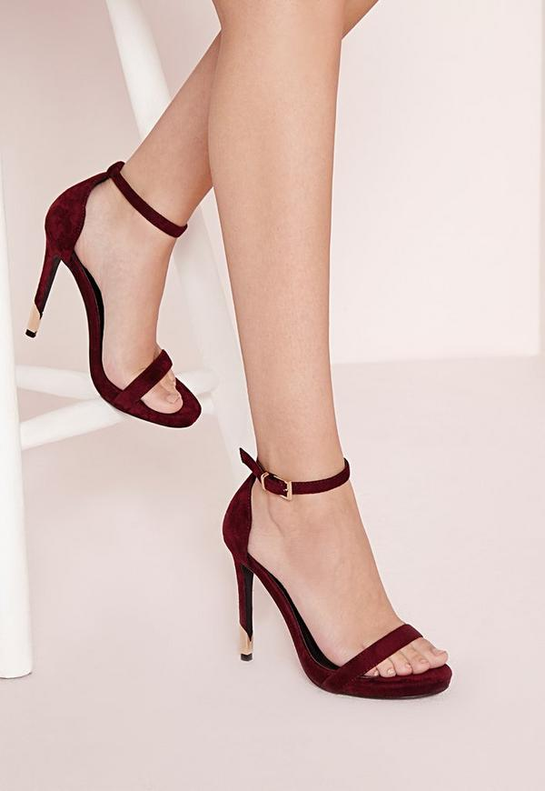 Gold Trim Barely There Heeled Sandals Berry