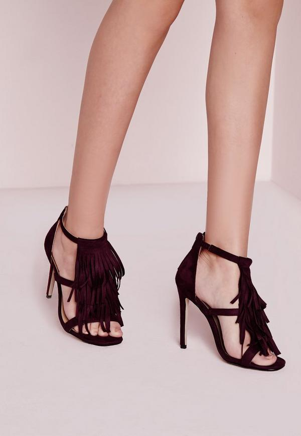Tassel Front Barely There Heeled Sandals Purple