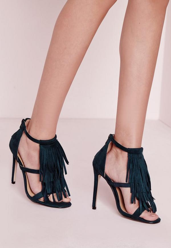 Tassel Front Barely There Heeled Sandals Green