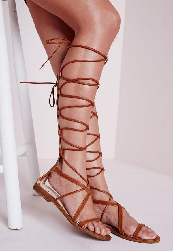 Flat Lace Up Gladiator Sandals Tan
