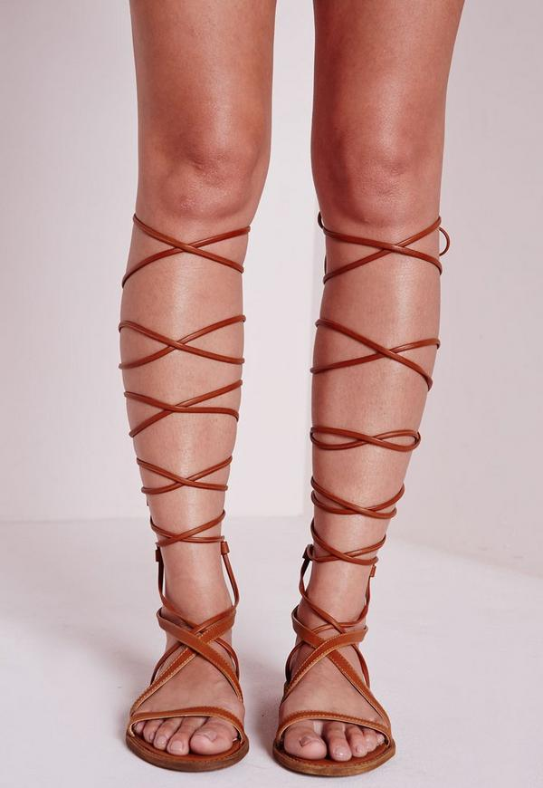 Flat Lace Up Gladiator Sandals Tan | Missguided