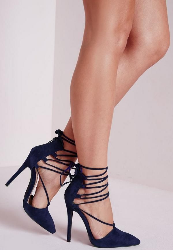 Lace Up Pointed Toe Court Shoes Cobalt Blue