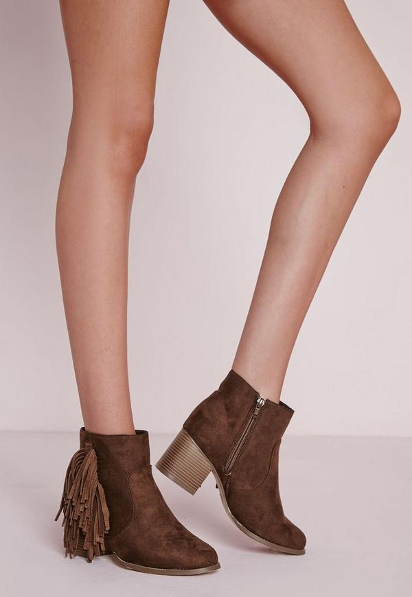 Tassel Ankle Boots Brown