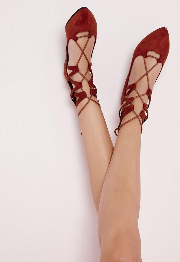 Lace Up Pointed Flats Rust