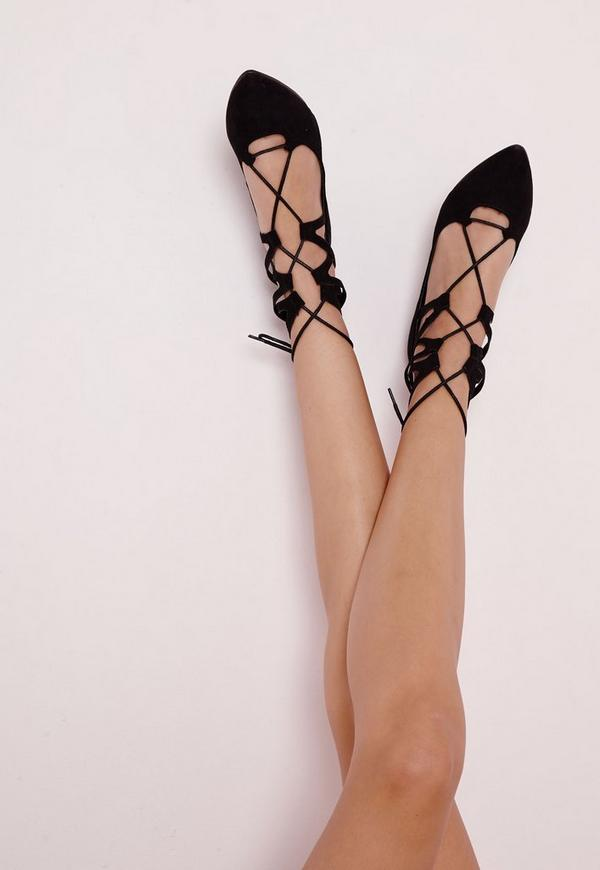 Lace Up Pointed Flats Black