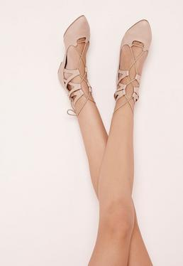 Lace Up Pointed Flats Nude