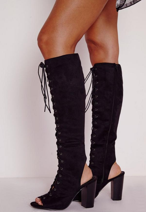 Lace Up Knee High Block Heeled Boots Black Missguided
