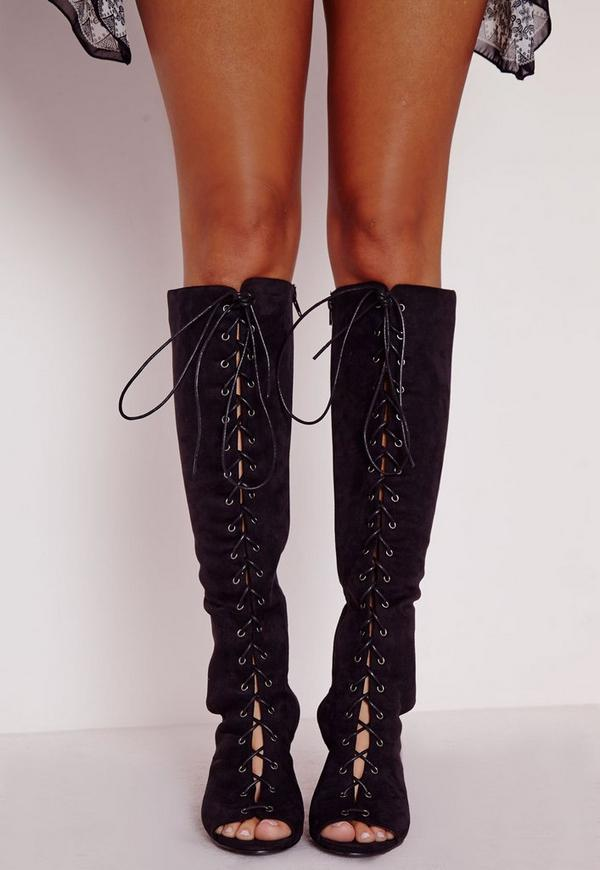 Lace Up Knee High Block Heeled Boots Black | Missguided