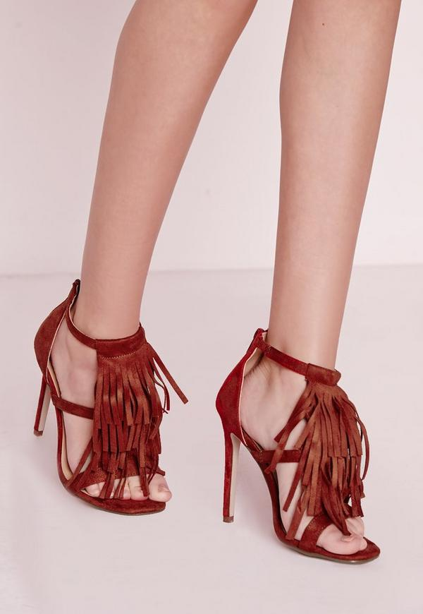 Tassel Front Barely There Heeled Sandals Rust