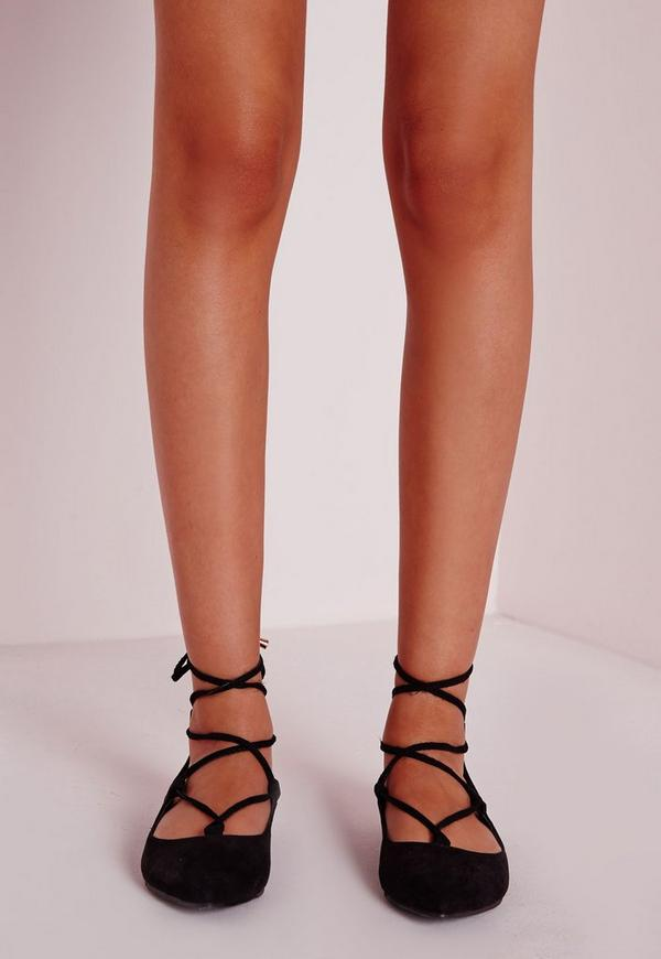 Faux Suede Lace Up Pointed Ballerina Flats Black Missguided