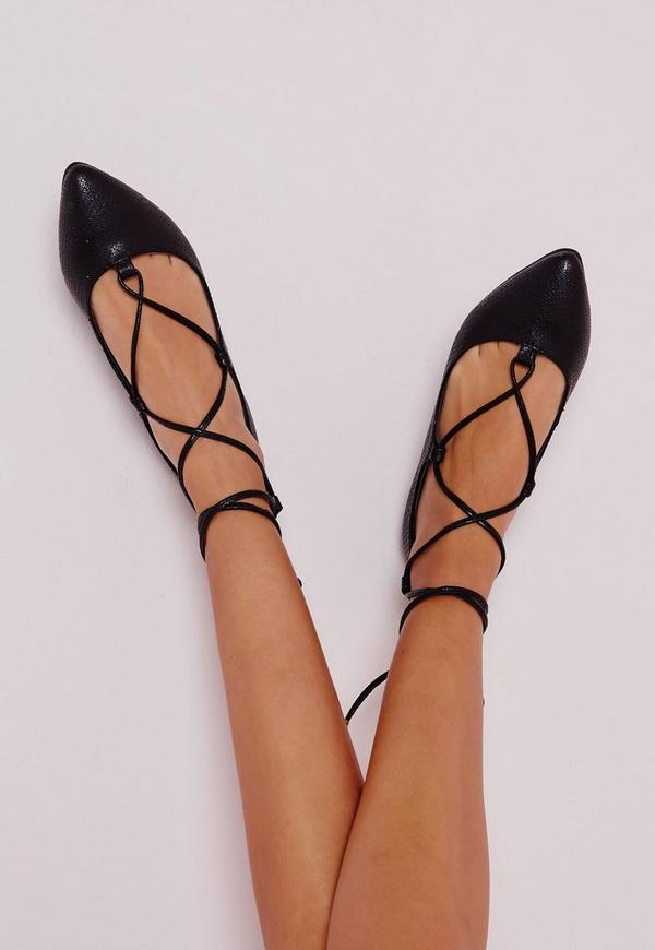 Lace Up Pointed Ballerina Flats Black Croc