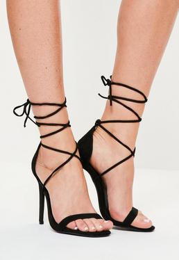 Lace Up Barely There Heeled Sandals Black