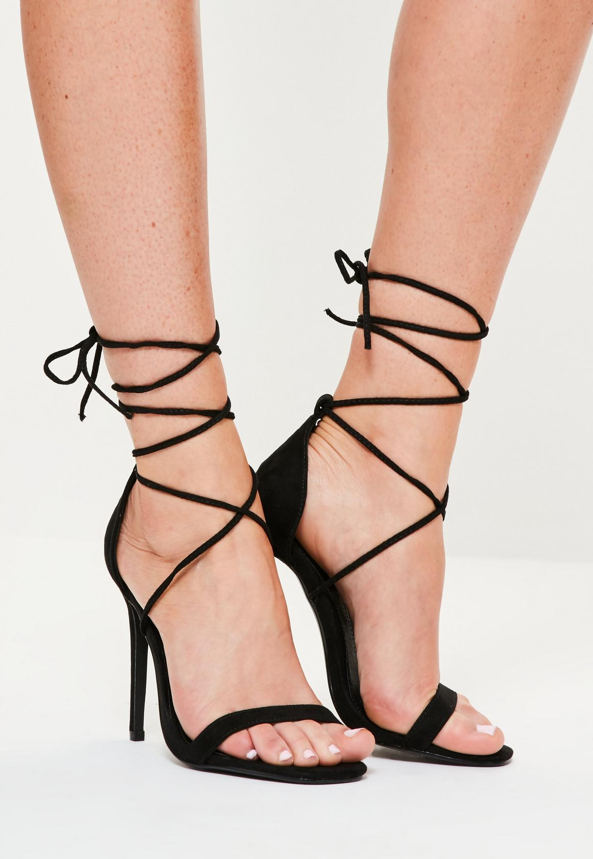 Lace Up Barely There Heeled Sandals Black | Missguided