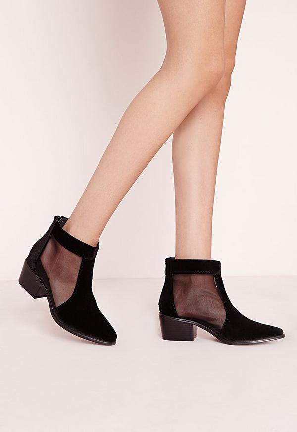 Mesh Insert Ankle Boots Black