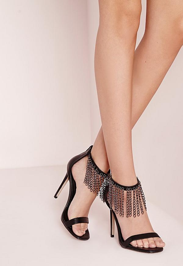 Chain Detail Barely There Heeled Sandals Black