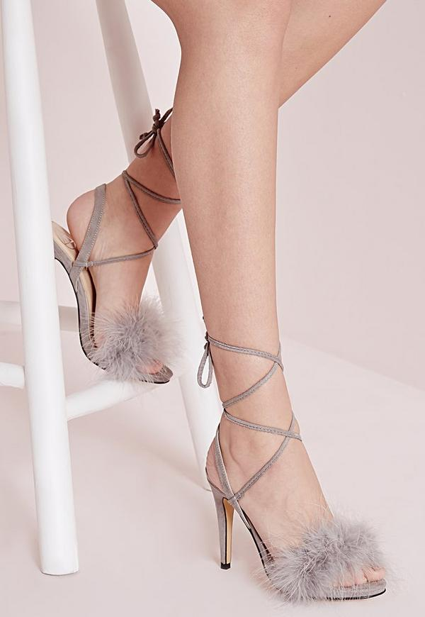 Lace Up Feather Heeled Sandals Grey