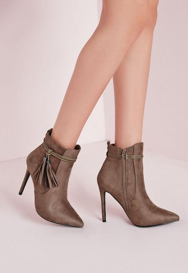 Tassel Trim Heeled Boots Taupe