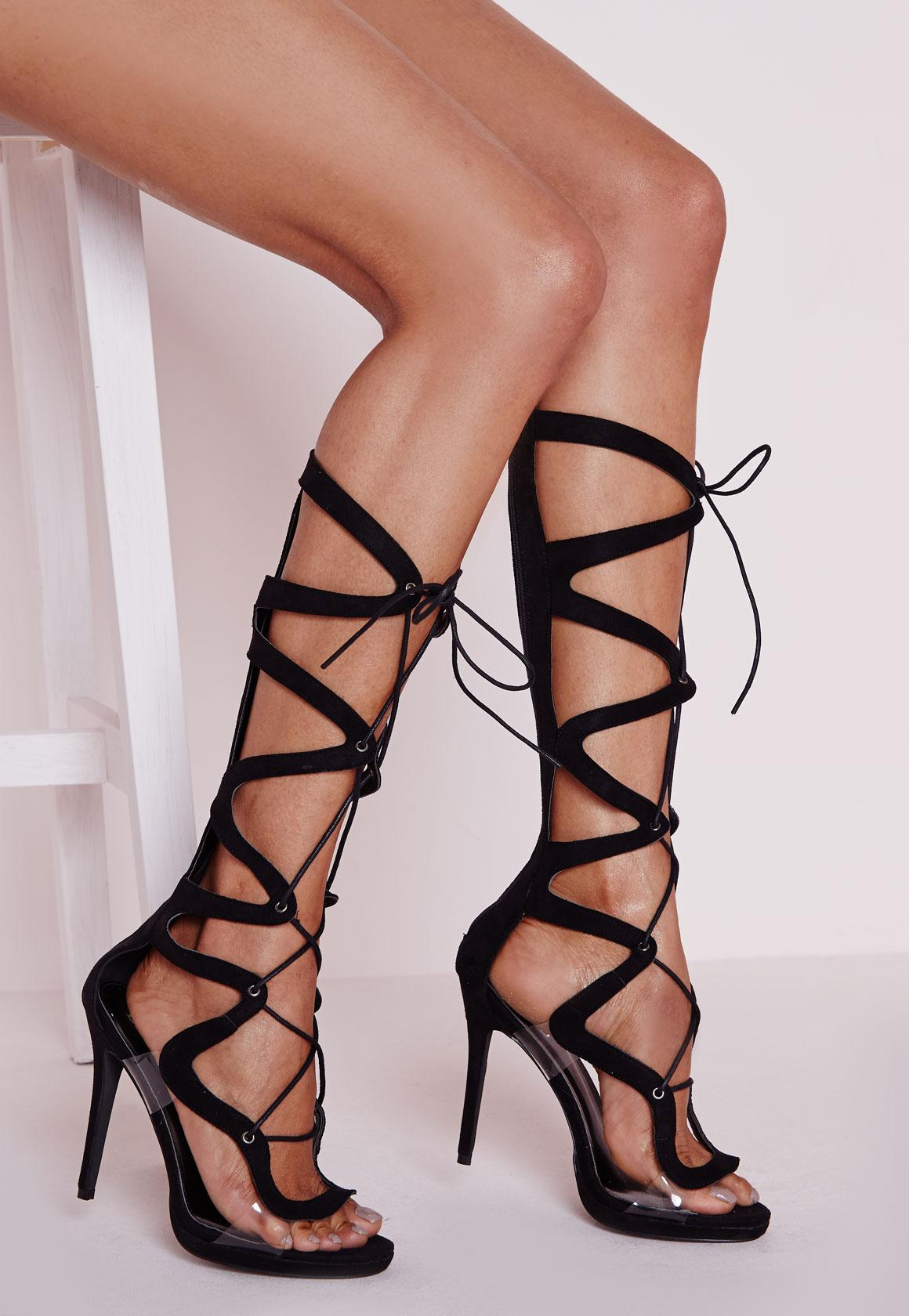 Geometric Knee High Gladiator Heeled Perspex Sandals Black ...
