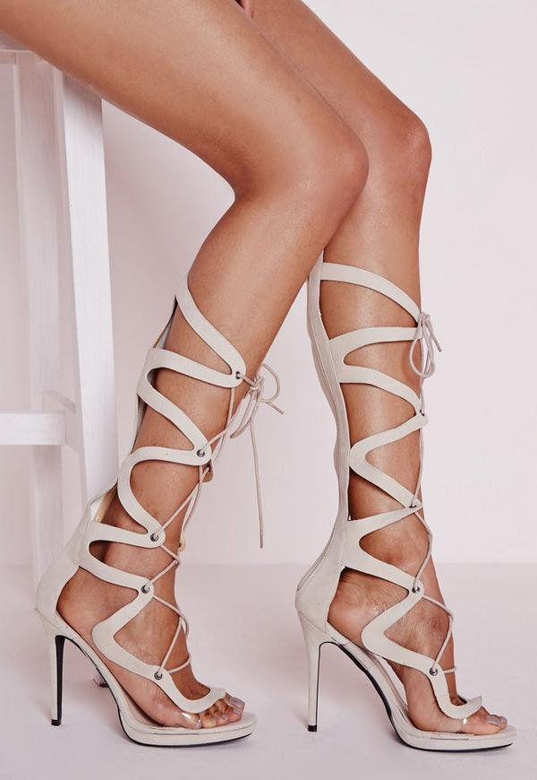 Geometric Knee High Heeled Sandals Nude