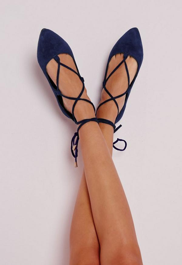 e6c8c8966bc7b Ballerines pointues à lacets bleu de cobalt   Missguided