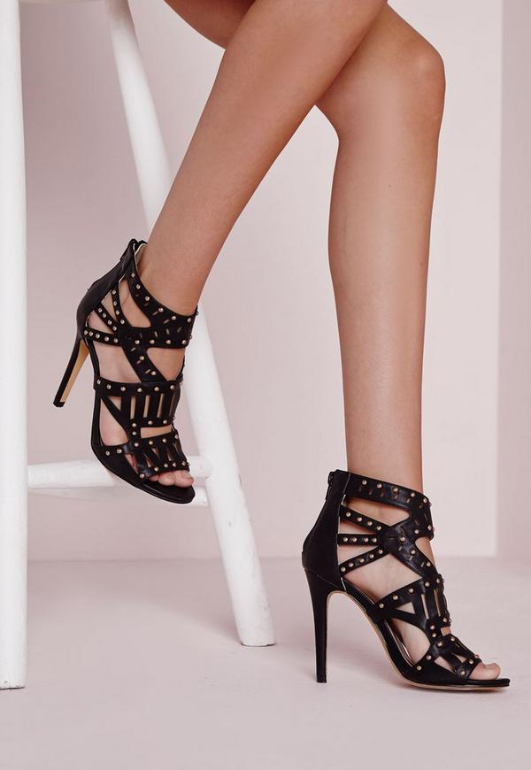 Laser Cut Stud Detail Heeled Sandals Black
