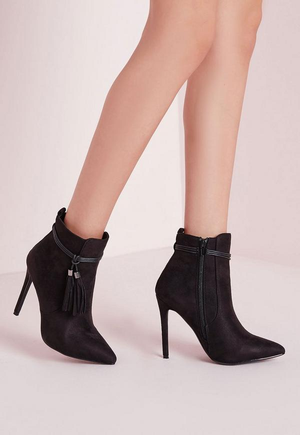 Tassel Trim Heeled Boots Black