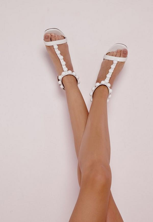 T Bar Button Detail Barely There Heeled Sandals White