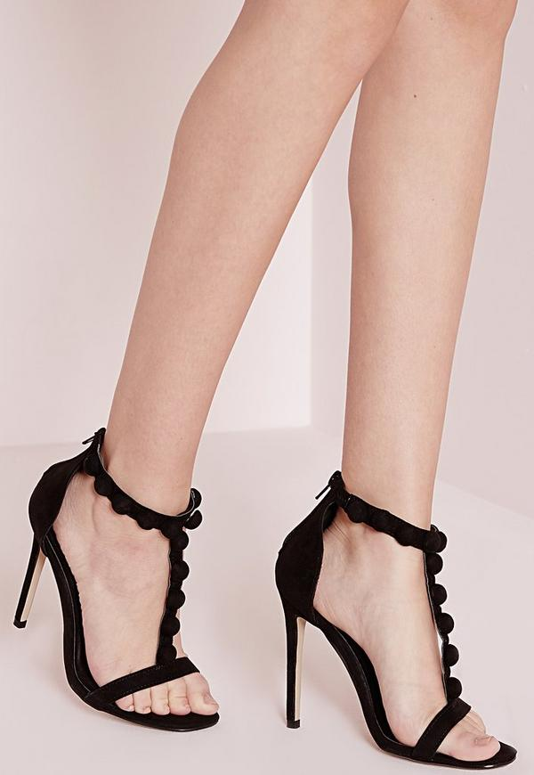 T Bar Button Detail Barely There Heeled Sandals Black