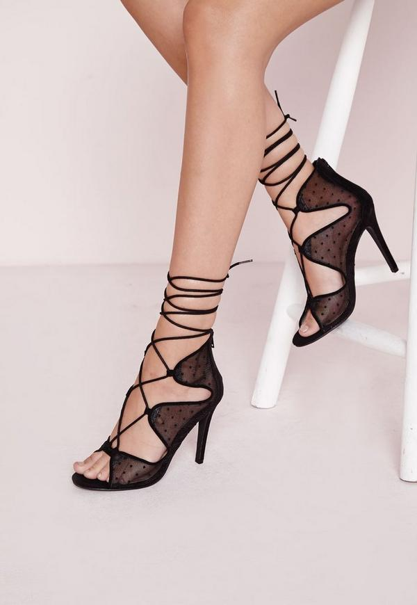 Polka Dot Mesh Lace Up Heeled Sandals Black