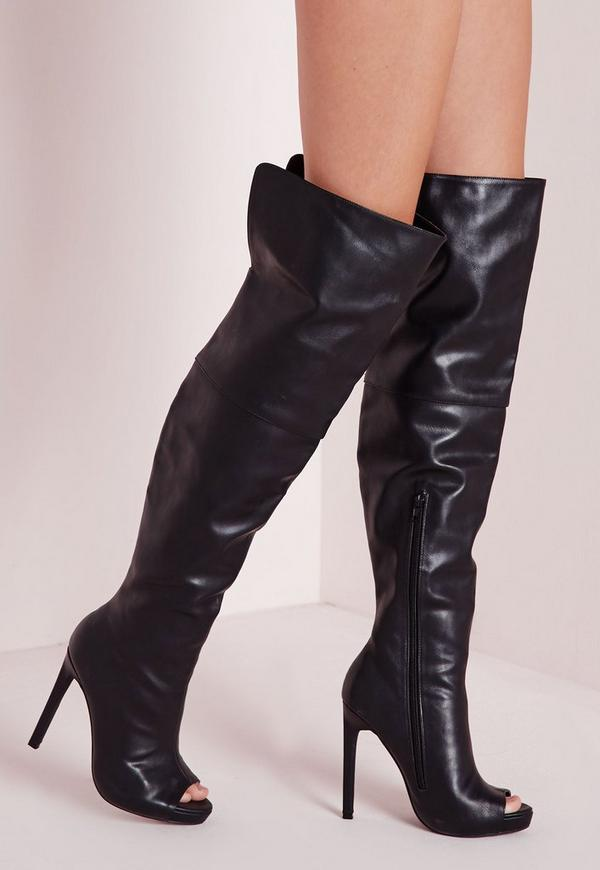 Faux Leather Thigh High Peep Toe Boots Black
