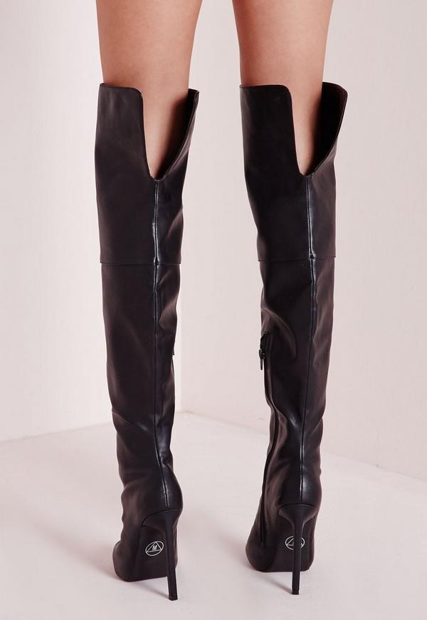 faux leather thigh high peep toe boots black missguided