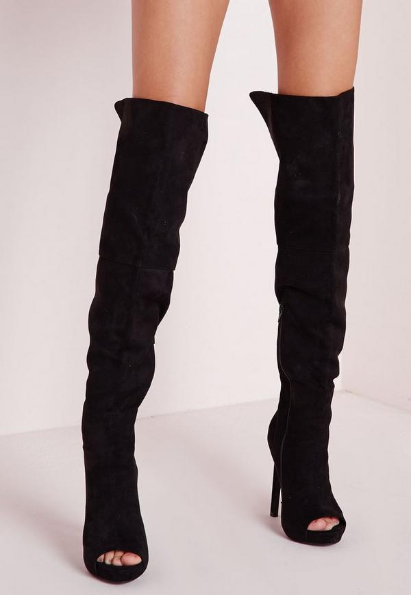 thigh high peep toe boots black missguided
