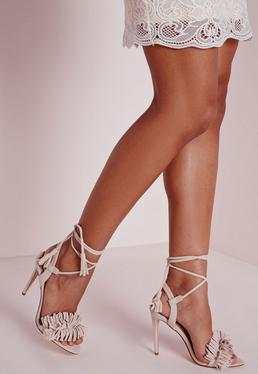 Tassel Detail Barely There Heeled Sandals Nude