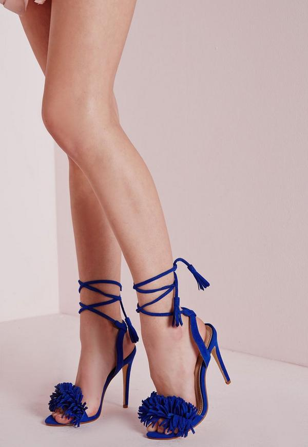 Tassel Detail Barely There Heeled Sandals Cobalt Blue