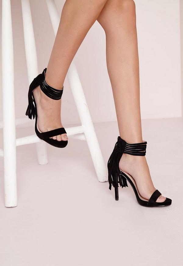 Tassel Ankle Strap Heeled Sandals Black