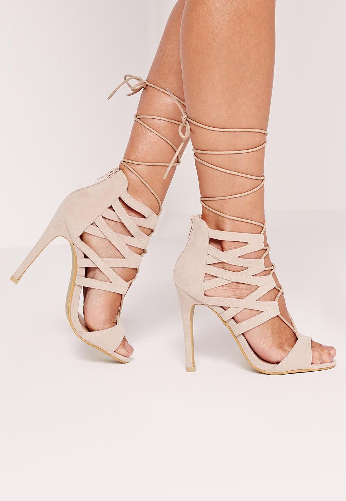 Strappy Heeled Sandals Nude | Missguided