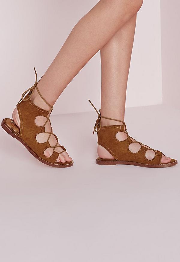 78c7aeff850485 Lace Up Flat Gladiator Sandals Tan