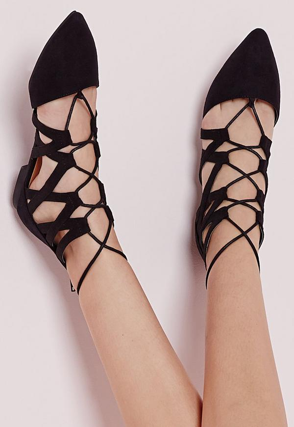 Strappy Lace Up Flat Shoes Black