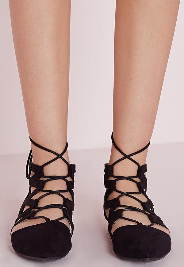 Black Lace Flat Shoes Strappy Lace Up...