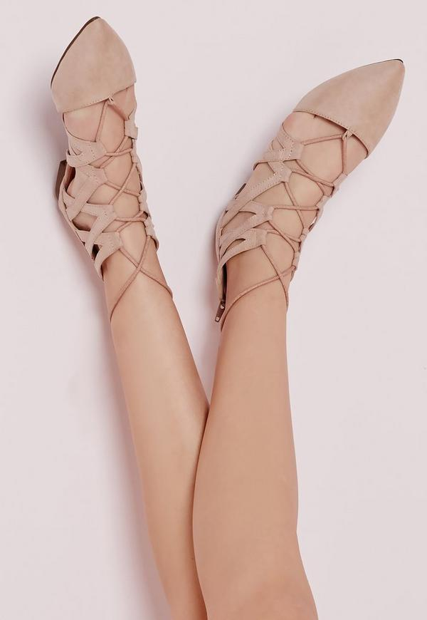 Strappy Lace Up Flat Shoes Nude