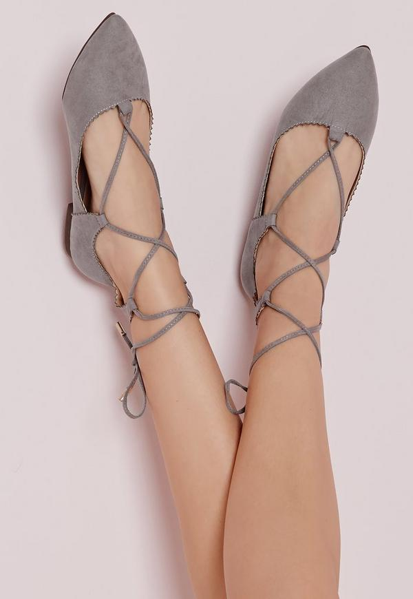 Scallop Edge Lace Up Flats Grey
