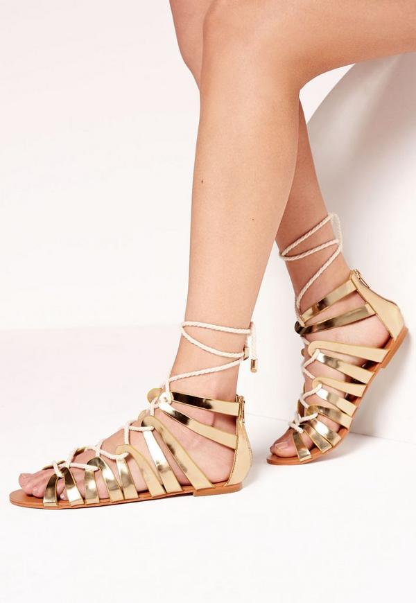 Rope Detail Flat Gladiator Sandal Gold