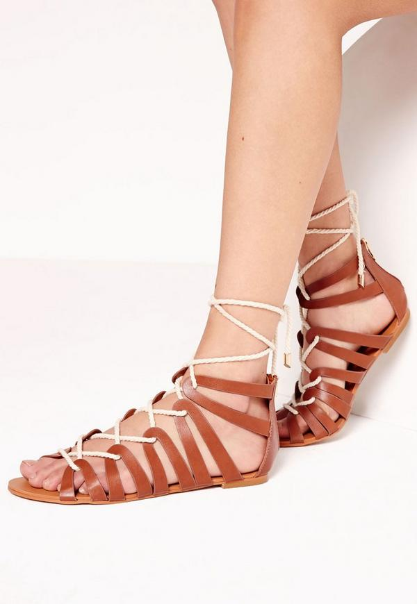 Rope Detail Flat Gladiator Sandal Tan