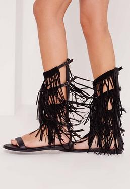 Fringe Detail Knee High Flat Gladiator Sandals Black