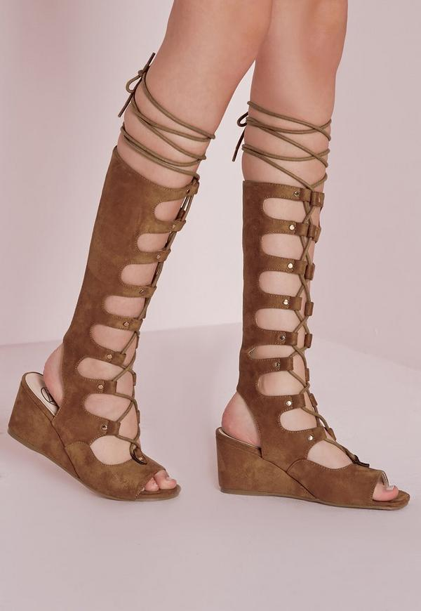 Knee High Wedge Gladiator Sandals Tan