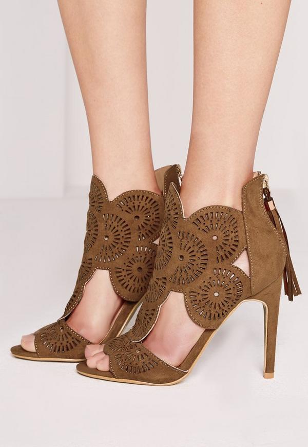 Laser Cut Tassel Heeled Sandals Tan